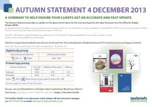 Taxbriefs personalised Autumn Statement