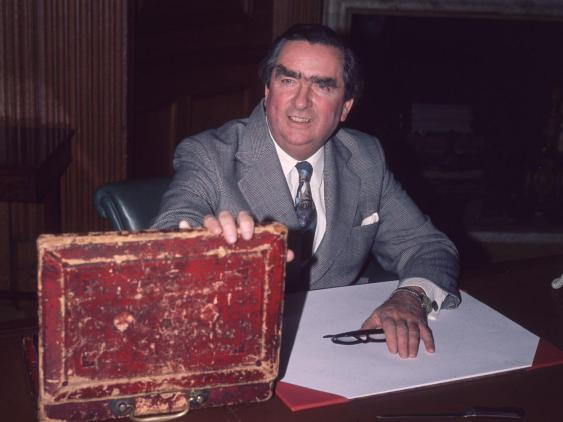 Denis Healey with the Budget Box, 1977